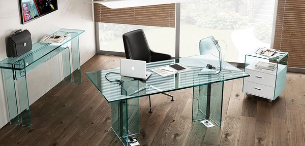 Llt glass desk Fiam